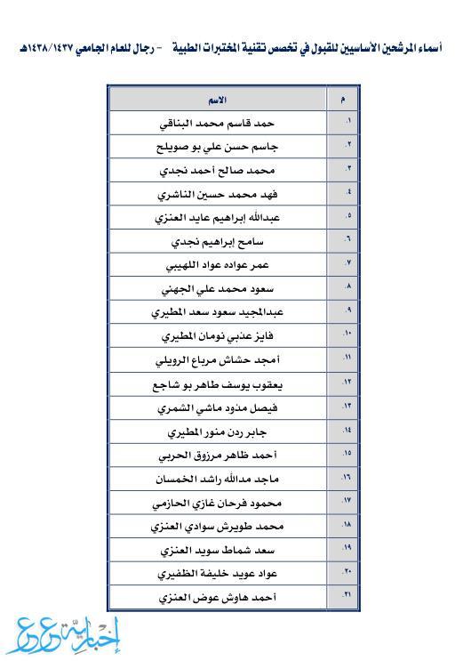 جامعة الحدود الشمالية تعلن أسماء المرشحين في برنامج التجسير في